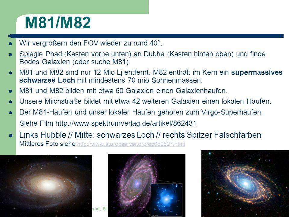 Astronomie, Kl. 9, Sternreise 1 GZG FN W.Seyboldt 16 M81/M82 Wir vergrößern den FOV wieder zu rund 40°. Spiegle Phad (Kasten vorne unten) an Dubhe (Ka