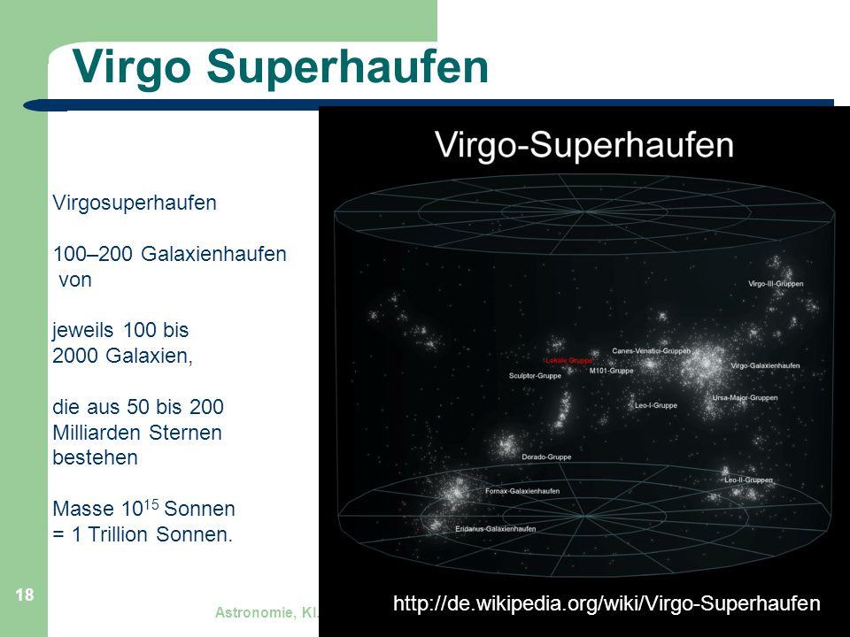 Astronomie, Kl. 9, Sternreise 1 GZG FN W.Seyboldt 18 Virgo Superhaufen http://de.wikipedia.org/wiki/Virgo-Superhaufen Virgosuperhaufen 100–200 Galaxie