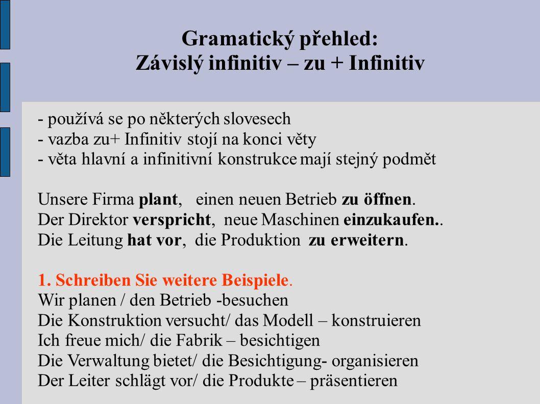 Gramatický přehled: Závislý infinitiv – zu + Infinitiv - používá se po některých slovesech - vazba zu+ Infinitiv stojí na konci věty - věta hlavní a infinitivní konstrukce mají stejný podmět Unsere Firma plant, einen neuen Betrieb zu öffnen.
