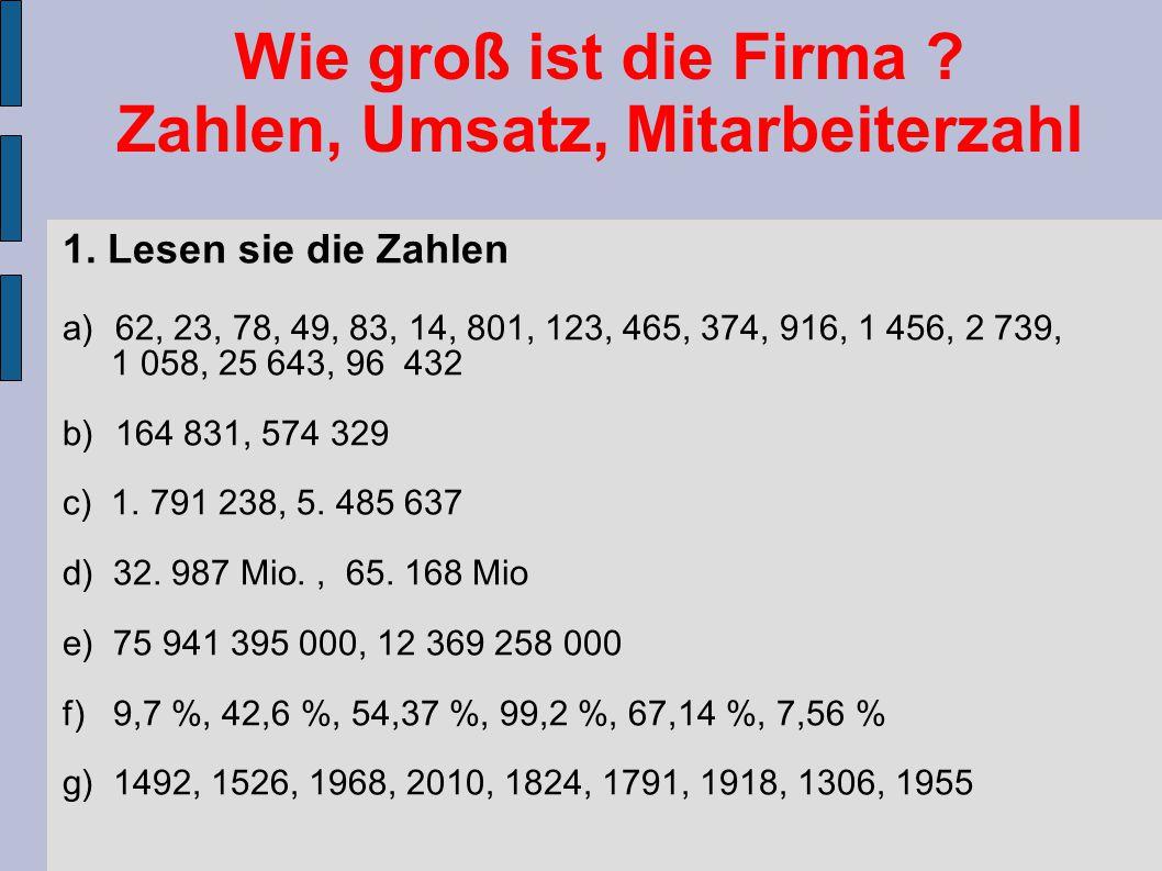 Wie groß ist die Firma ? Zahlen, Umsatz, Mitarbeiterzahl 1. Lesen sie die Zahlen a)62, 23, 78, 49, 83, 14, 801, 123, 465, 374, 916, 1 456, 2 739, 1 05