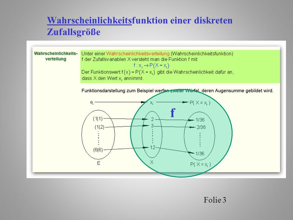 Folie 4 Verteilungsfunktion einer Zufallsgröße Zur Charakterisierung von Zufallsgrößen benutzt man die Verteilungsfunktion.