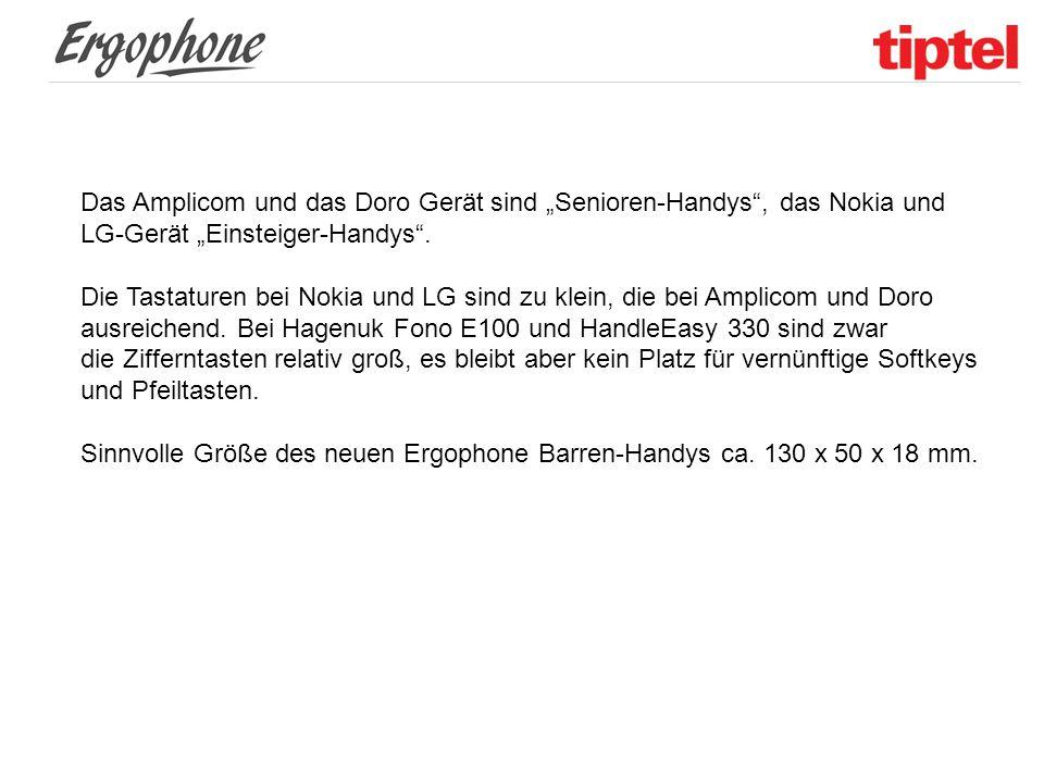 """Das Amplicom und das Doro Gerät sind """"Senioren-Handys"""", das Nokia und LG-Gerät """"Einsteiger-Handys"""". Die Tastaturen bei Nokia und LG sind zu klein, die"""
