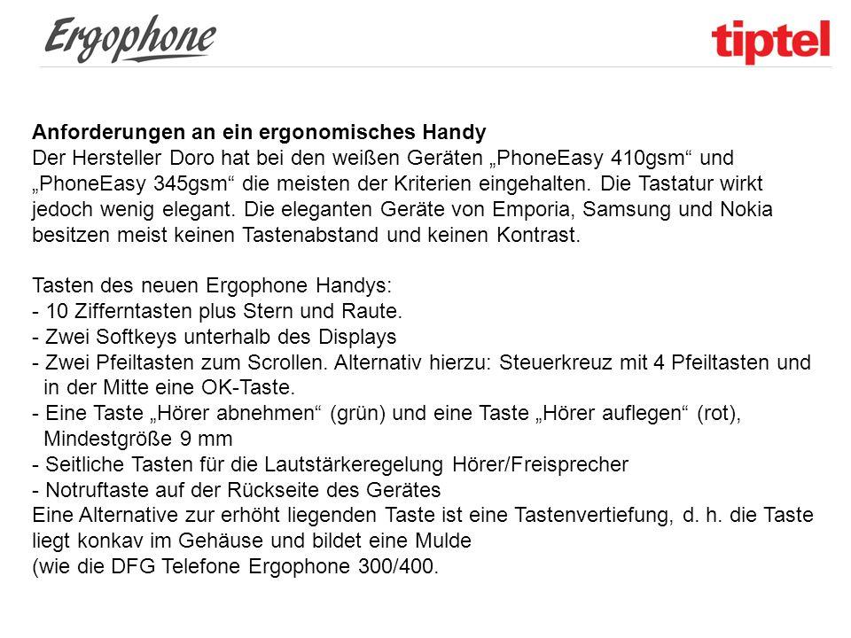 """Anforderungen an ein ergonomisches Handy Der Hersteller Doro hat bei den weißen Geräten """"PhoneEasy 410gsm"""" und """"PhoneEasy 345gsm"""" die meisten der Krit"""