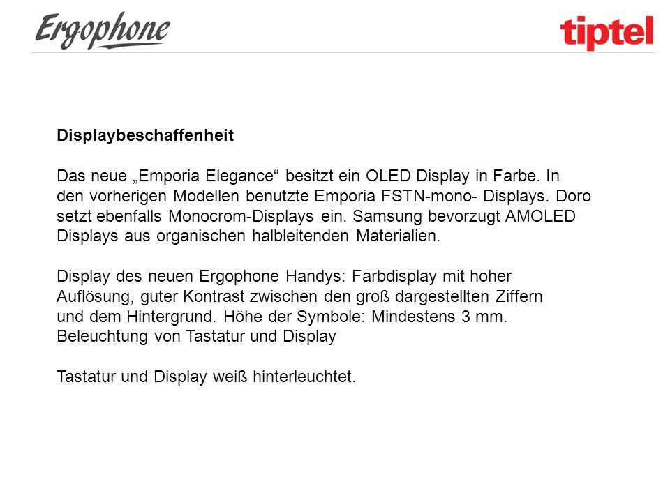 """Displaybeschaffenheit Das neue """"Emporia Elegance"""" besitzt ein OLED Display in Farbe. In den vorherigen Modellen benutzte Emporia FSTN-mono- Displays."""