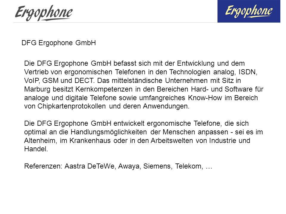 DFG Ergophone GmbH Die DFG Ergophone GmbH befasst sich mit der Entwicklung und dem Vertrieb von ergonomischen Telefonen in den Technologien analog, IS