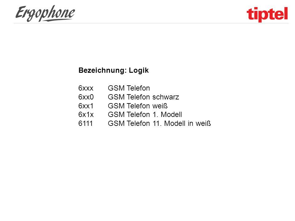 Bezeichnung: Logik 6xxxGSM Telefon 6xx0GSM Telefon schwarz 6xx1GSM Telefon weiß 6x1xGSM Telefon 1. Modell 6111GSM Telefon 11. Modell in weiß