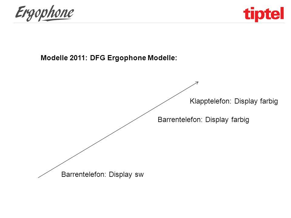 Modelle 2011: DFG Ergophone Modelle: Barrentelefon: Display sw Barrentelefon: Display farbig Klapptelefon: Display farbig
