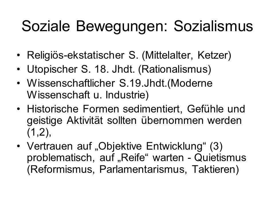 Soziale Bewegungen: Sozialismus Religiös-ekstatischer S. (Mittelalter, Ketzer) Utopischer S. 18. Jhdt. (Rationalismus) Wissenschaftlicher S.19.Jhdt.(M