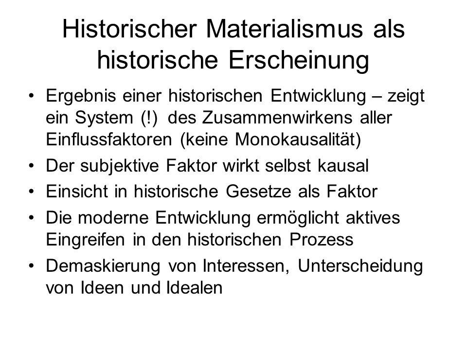 Historischer Materialismus als historische Erscheinung Ergebnis einer historischen Entwicklung – zeigt ein System (!) des Zusammenwirkens aller Einflu