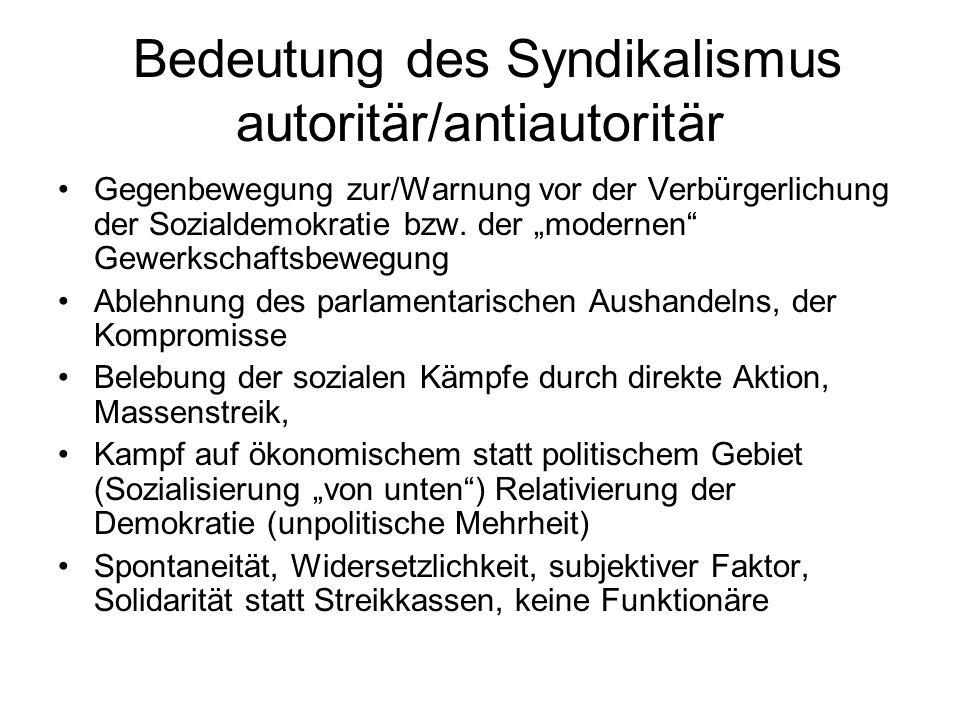 """Bedeutung des Syndikalismus autoritär/antiautoritär Gegenbewegung zur/Warnung vor der Verbürgerlichung der Sozialdemokratie bzw. der """"modernen"""" Gewerk"""