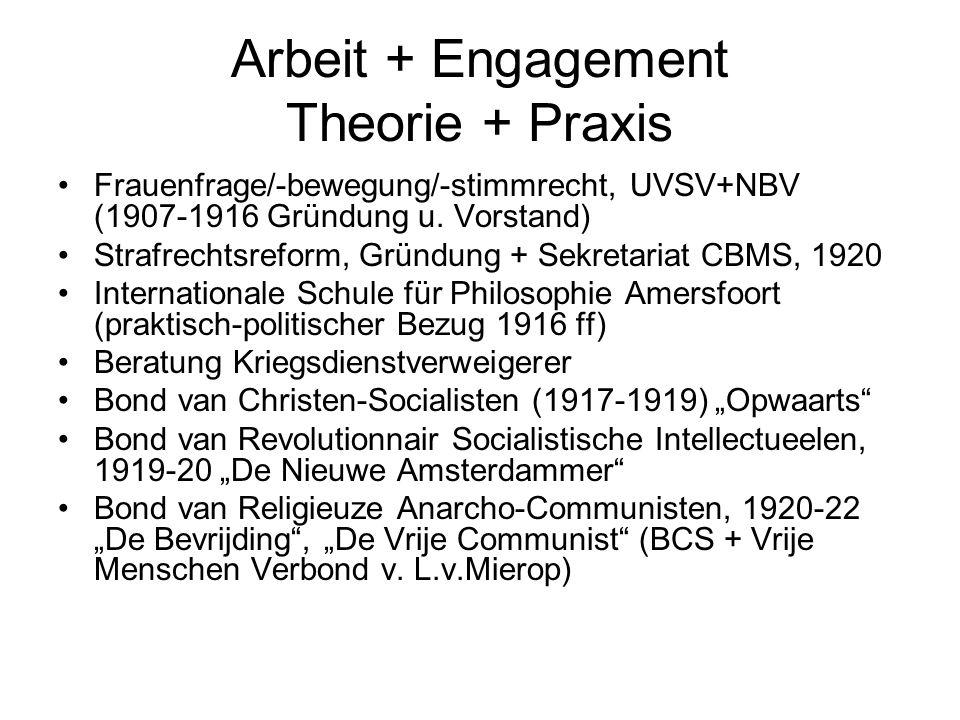 Arbeit + Engagement Theorie + Praxis Frauenfrage/-bewegung/-stimmrecht, UVSV+NBV (1907-1916 Gründung u. Vorstand) Strafrechtsreform, Gründung + Sekret