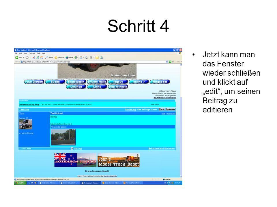 """Schritt 4 Jetzt kann man das Fenster wieder schließen und klickt auf """"edit , um seinen Beitrag zu editieren"""
