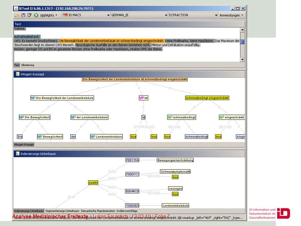 IETool: Codierung von Medikationen Analyse Medizinischer Freitexte   Lukas Faulstich   12.03.10   Folie 8