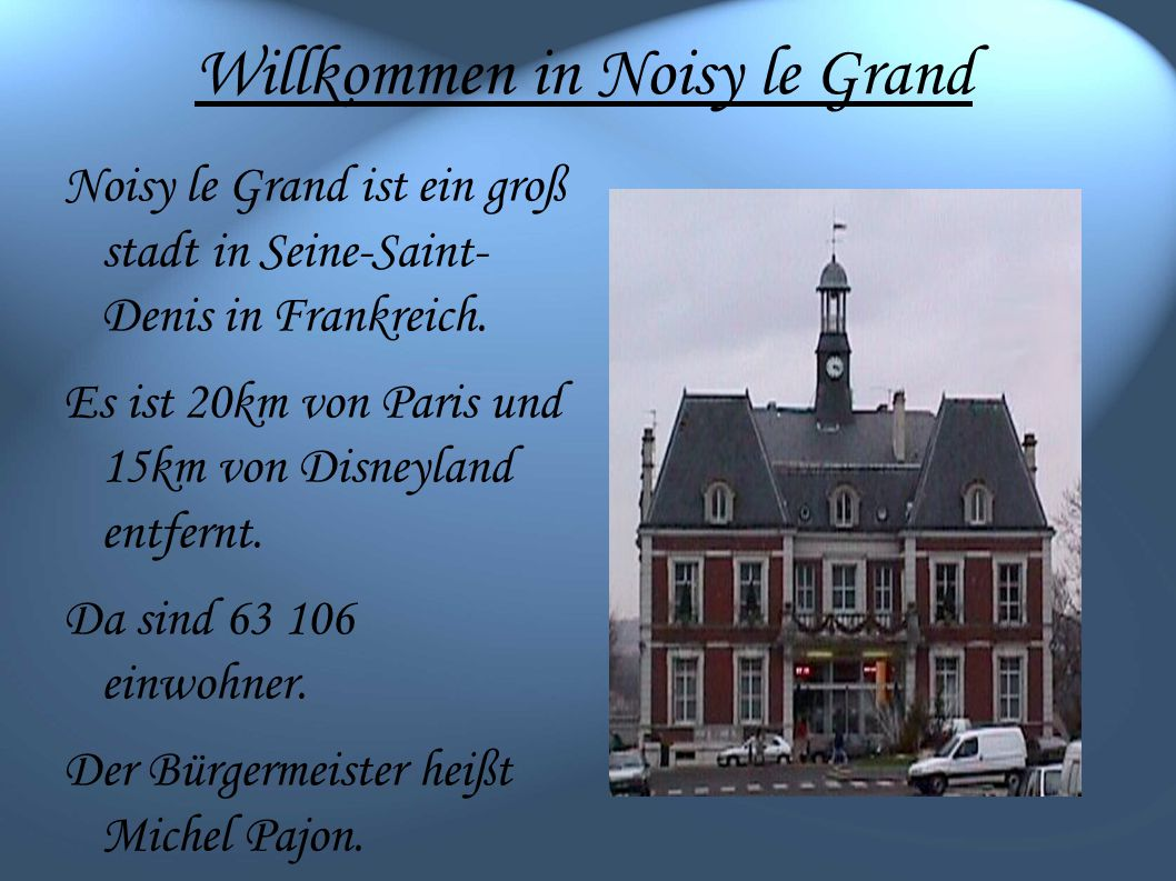Willkommen in Noisy le Grand Noisy le Grand ist ein groß stadt in Seine-Saint- Denis in Frankreich.