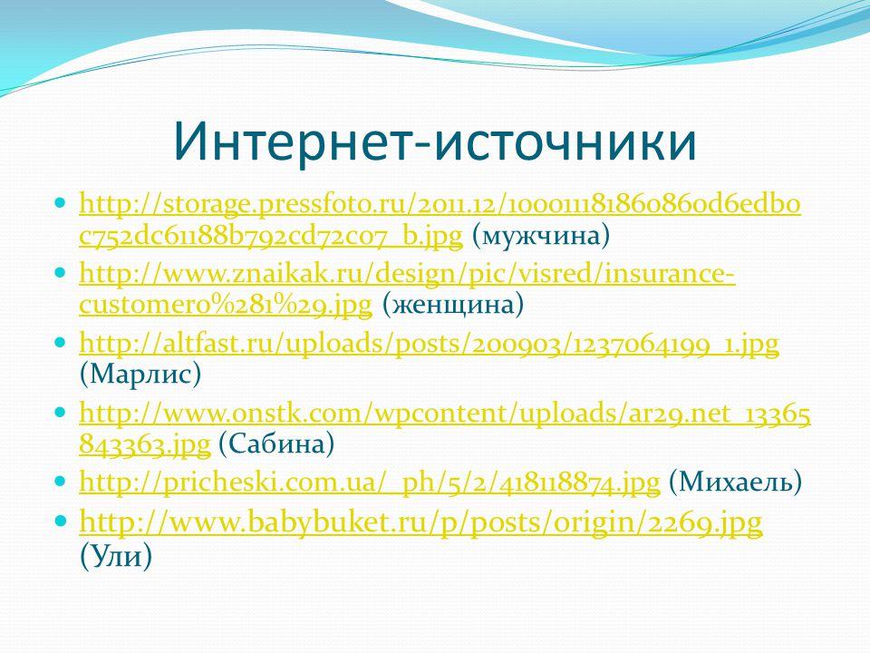 Интернет-источники http://storage.pressfoto.ru/2011.12/100011181860860d6edb0 c752dc61188b792cd72c07_b.jpg (мужчина) http://storage.pressfoto.ru/2011.12/100011181860860d6edb0 c752dc61188b792cd72c07_b.jpg http://www.znaikak.ru/design/pic/visred/insurance- customer0%281%29.jpg (женщина) http://www.znaikak.ru/design/pic/visred/insurance- customer0%281%29.jpg http://altfast.ru/uploads/posts/200903/1237064199_1.jpg (Марлис) http://altfast.ru/uploads/posts/200903/1237064199_1.jpg http://www.onstk.com/wpcontent/uploads/ar29.net_13365 843363.jpg (Сабина) http://www.onstk.com/wpcontent/uploads/ar29.net_13365 843363.jpg http://pricheski.com.ua/_ph/5/2/418118874.jpg (Михаель) http://pricheski.com.ua/_ph/5/2/418118874.jpg http://www.babybuket.ru/p/posts/origin/2269.jpg (Ули) http://www.babybuket.ru/p/posts/origin/2269.jpg
