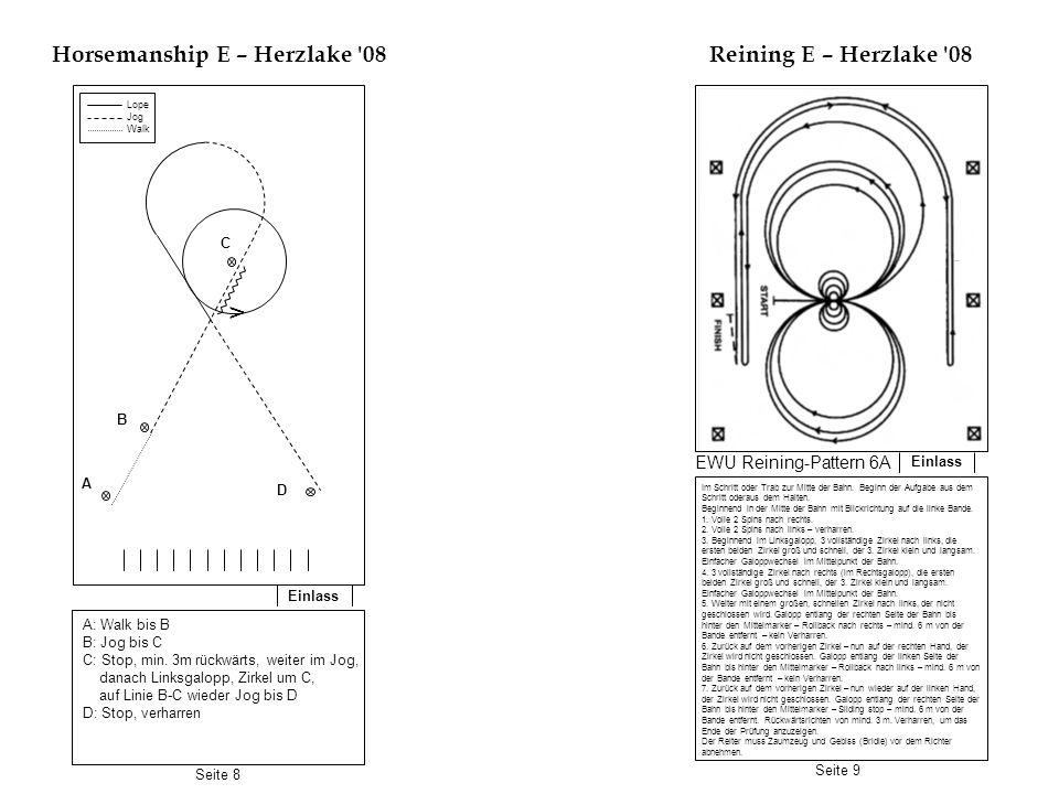 Einlass Horsemanship E – Herzlake '08 Einlass Reining E – Herzlake '08 A: Walk bis B B: Jog bis C C: Stop, min. 3m rückwärts, weiter im Jog, danach Li