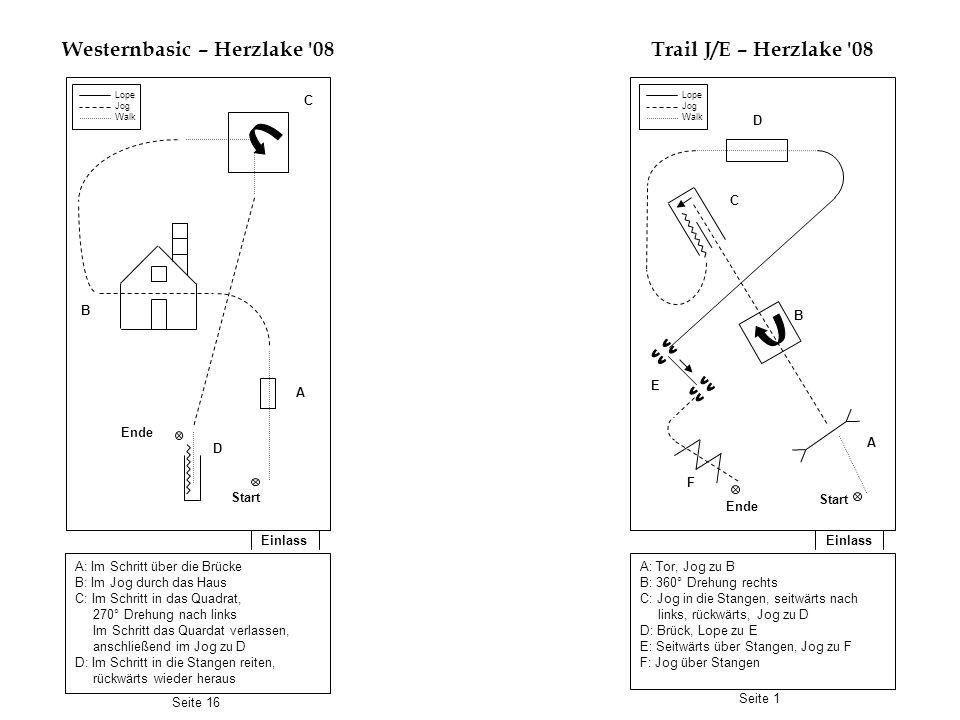 Einlass Horsemanship J/E – Herzlake 08 Einlass Reining BM – Herzlake 08 A: Walk zu B B: Jog bis C C: Rechtsgalopp bis D D: Jog bis F F: Stop, rückwärts bis E anschließend zurück zum Line-Up 1.