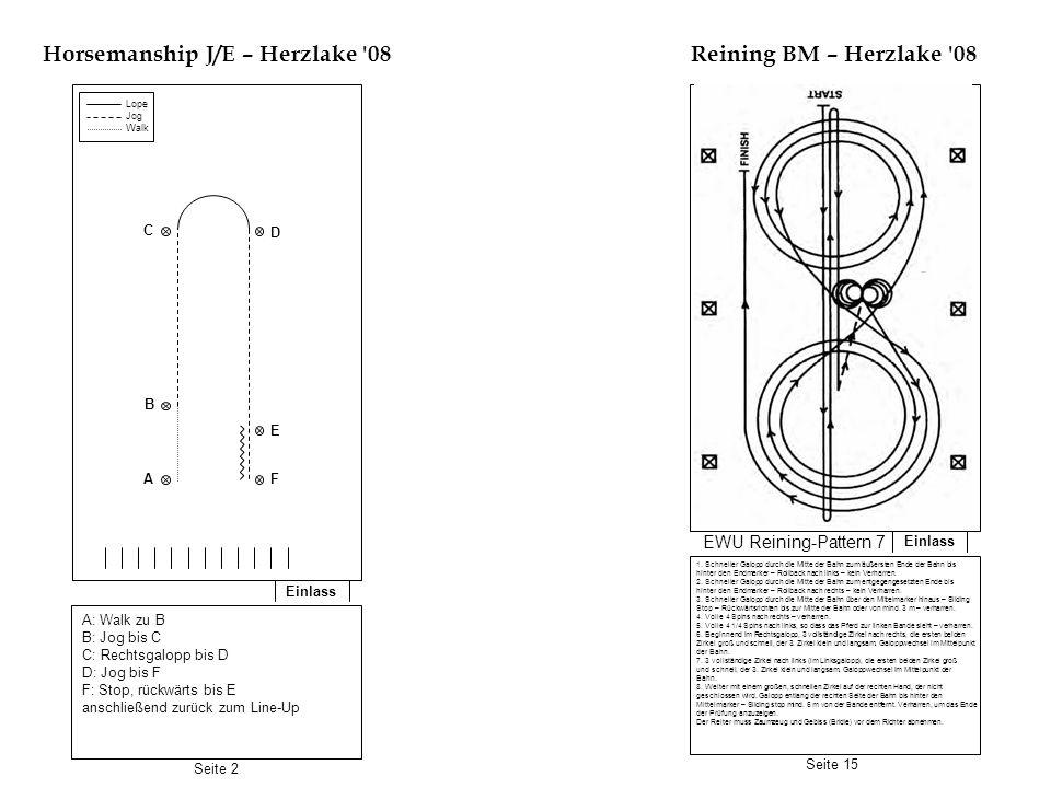 Einlass Horsemanship BM – Herzlake 08 Einlass Reining J/E – Herzlake 08 A: Extended trot bis B B: Rechtsgalopp bis C, Stop, verweilen C: Jog bis D D: Stop, 5 Schritte rückwärts, 180° Hinterhandwendung rechts, Jog zurück zu B B: Galoppzirkel links, einfacher oder fliegender Wechsel, Galoppzirkel rechts, Stop, verweilen Im Jog zurück zum Line-UP Im Schritt oder Trab zur Mitte der Bahn.