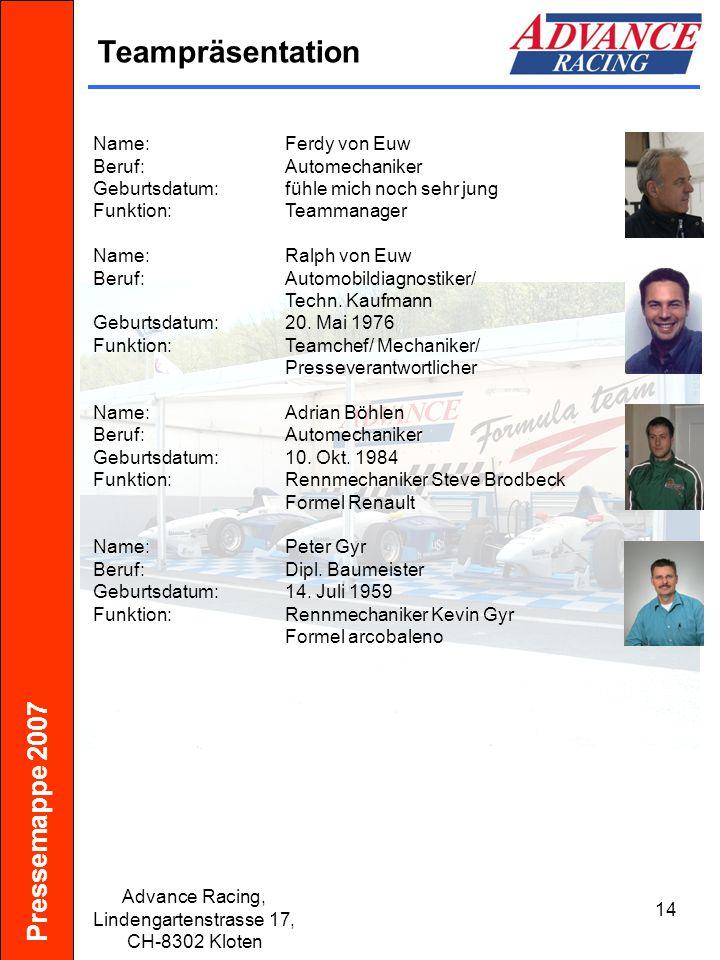 Pressemappe 2007 Advance Racing, Lindengartenstrasse 17, CH-8302 Kloten 15 Erfolge Saisons 2000 - 2006 Name:Kat.:Rang: Saison 2000 Iris TurnherrFormula Lista2.