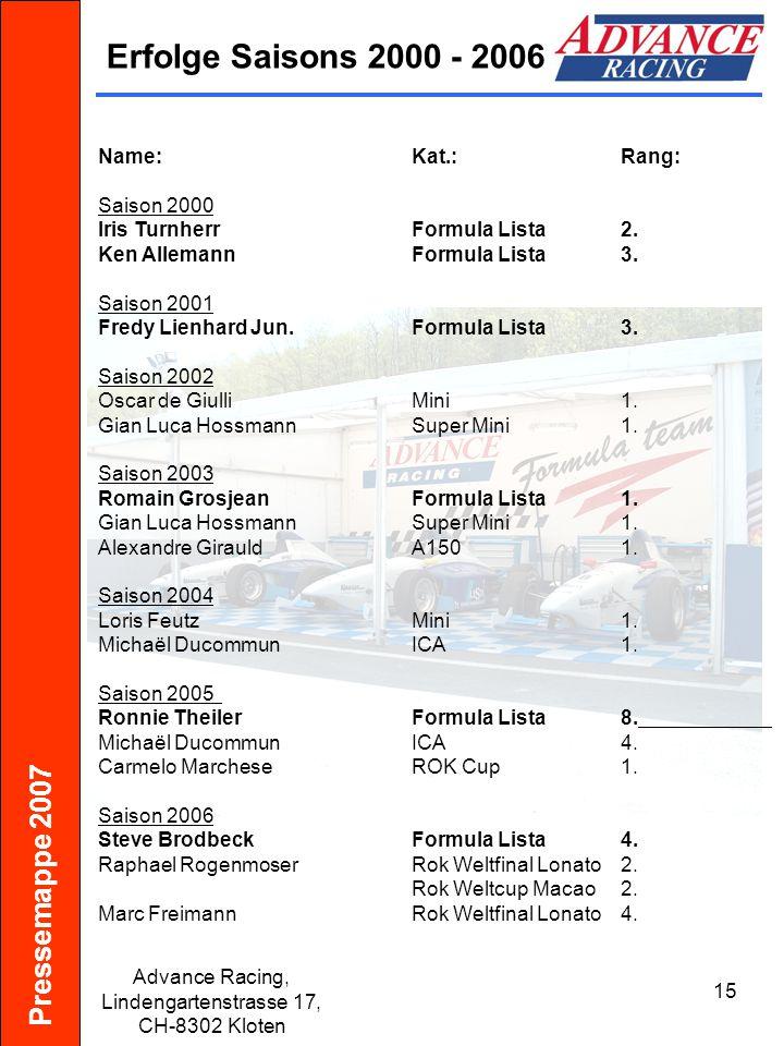 Pressemappe 2007 Advance Racing, Lindengartenstrasse 17, CH-8302 Kloten 16 Sponsoren Workflow- Logistik Büroorganisation Entwicklung, Herstellung, Verkauf, Wartung von Maschinen Carrosserie und Spritzwerk Schmierstoffe