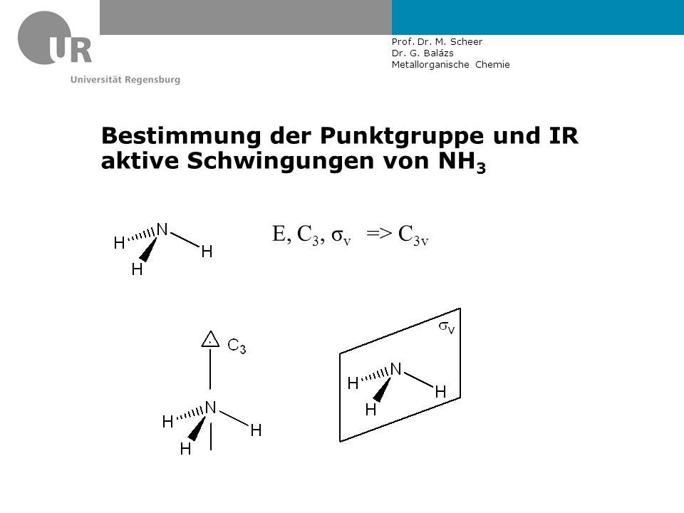 Prof. Dr. M. Scheer Dr. G. Balázs Metallorganische Chemie Bestimmung der Punktgruppe und IR aktive Schwingungen von NH 3 E, C 3, σ v => C 3v