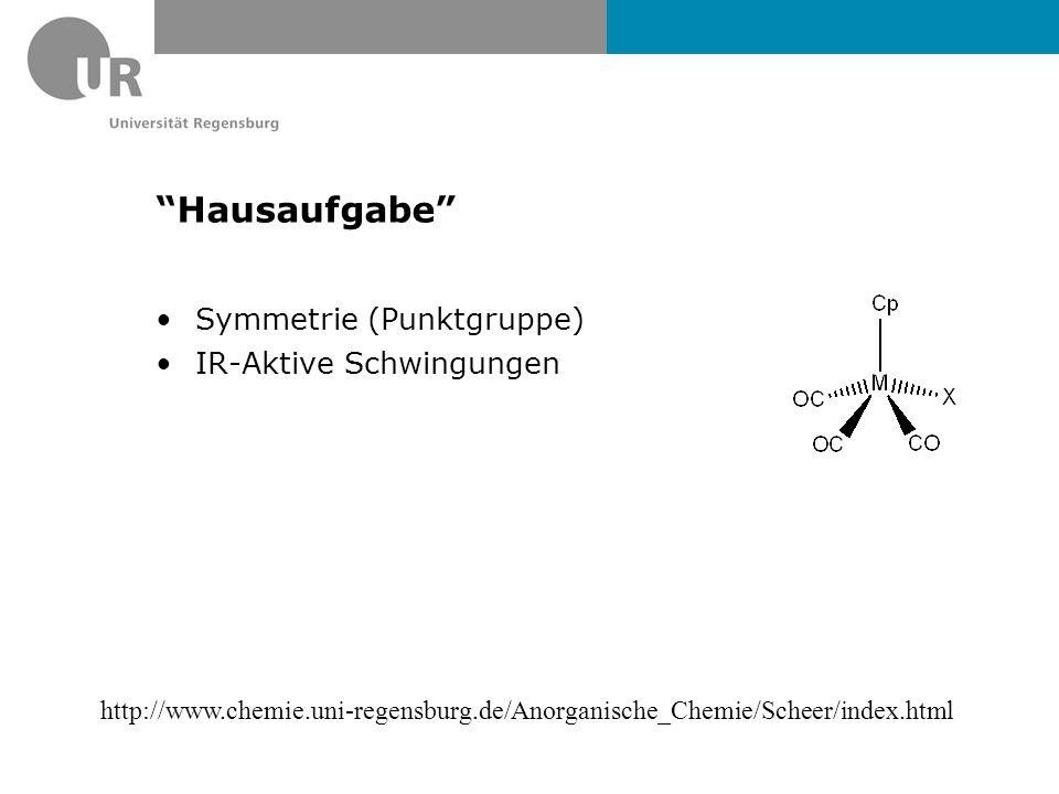 """""""Hausaufgabe"""" Symmetrie (Punktgruppe) IR-Aktive Schwingungen http://www.chemie.uni-regensburg.de/Anorganische_Chemie/Scheer/index.html"""