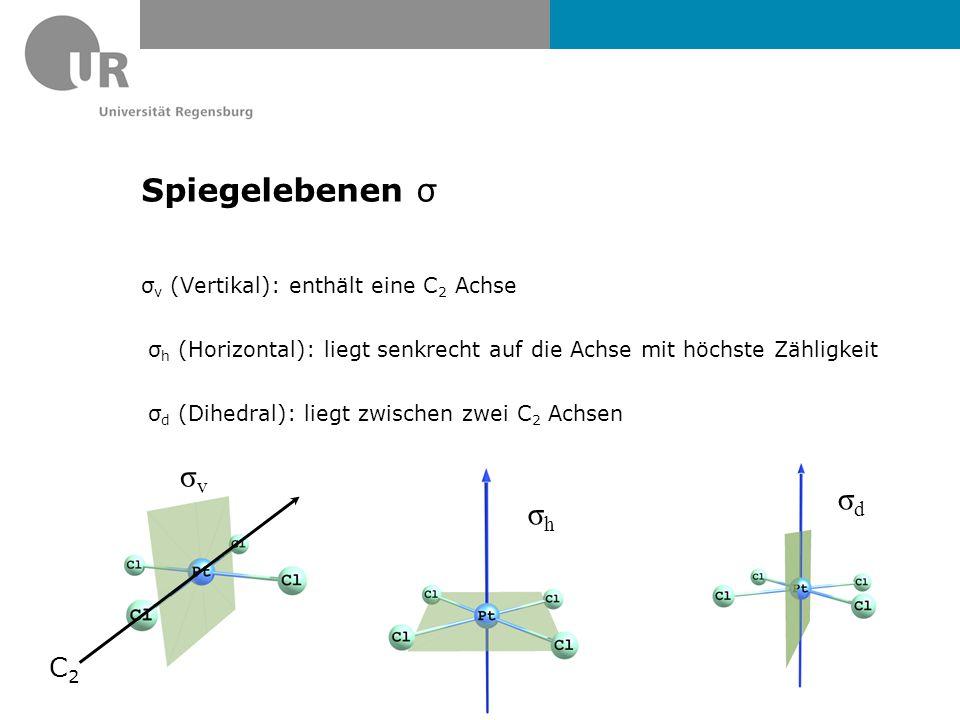 Spiegelebenen σ σ v (Vertikal): enthält eine C 2 Achse σ h (Horizontal): liegt senkrecht auf die Achse mit höchste Zähligkeit σ d (Dihedral): liegt zwischen zwei C 2 Achsen σhσh σdσd σvσv C2C2