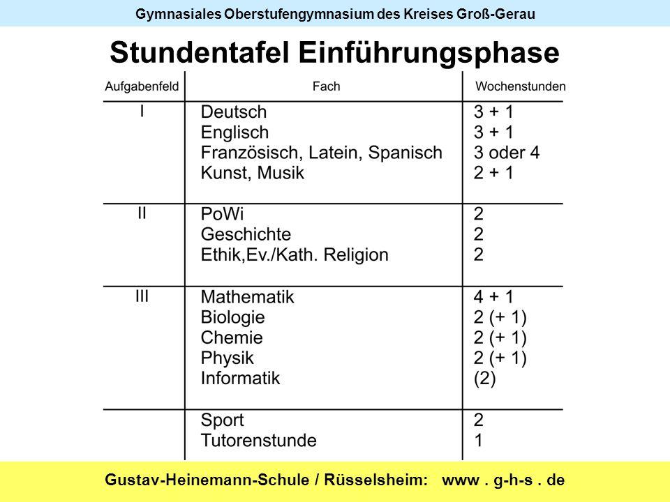 Gustav-Heinemann-Schule / Rüsselsheim: www. g-h-s. de Gymnasiales Oberstufengymnasium des Kreises Groß-Gerau Stundentafel Einführungsphase
