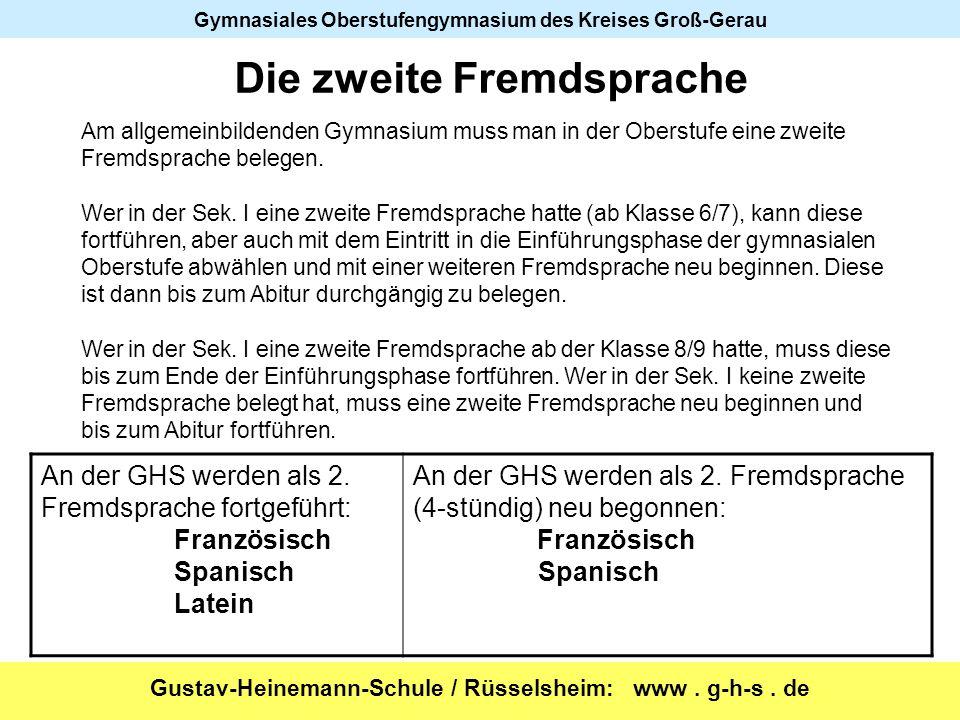 Gustav-Heinemann-Schule / Rüsselsheim: www. g-h-s. de Gymnasiales Oberstufengymnasium des Kreises Groß-Gerau Am allgemeinbildenden Gymnasium muss man