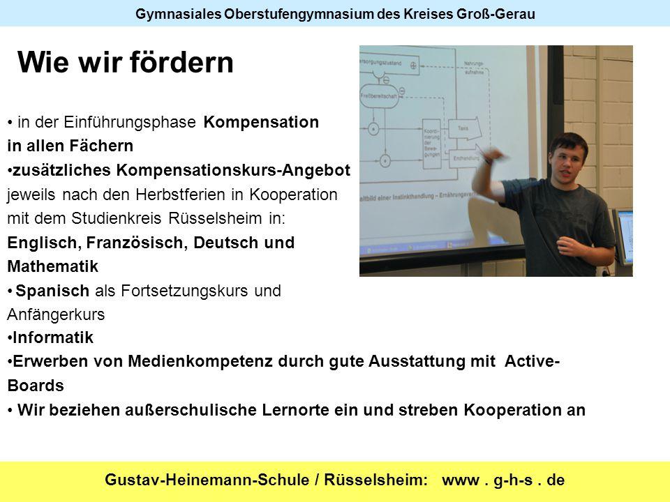 Gustav-Heinemann-Schule / Rüsselsheim: www. g-h-s. de Gymnasiales Oberstufengymnasium des Kreises Groß-Gerau Wie wir fördern in der Einführungsphase K
