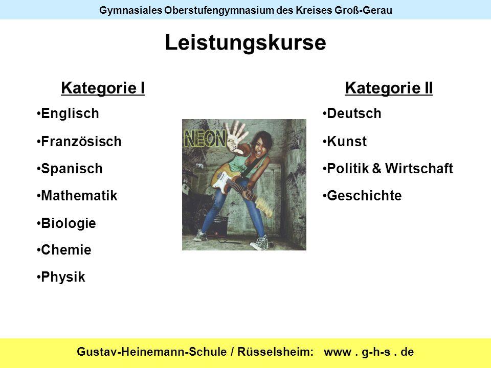 Gustav-Heinemann-Schule / Rüsselsheim: www. g-h-s. de Gymnasiales Oberstufengymnasium des Kreises Groß-Gerau Leistungskurse Kategorie IKategorie II En