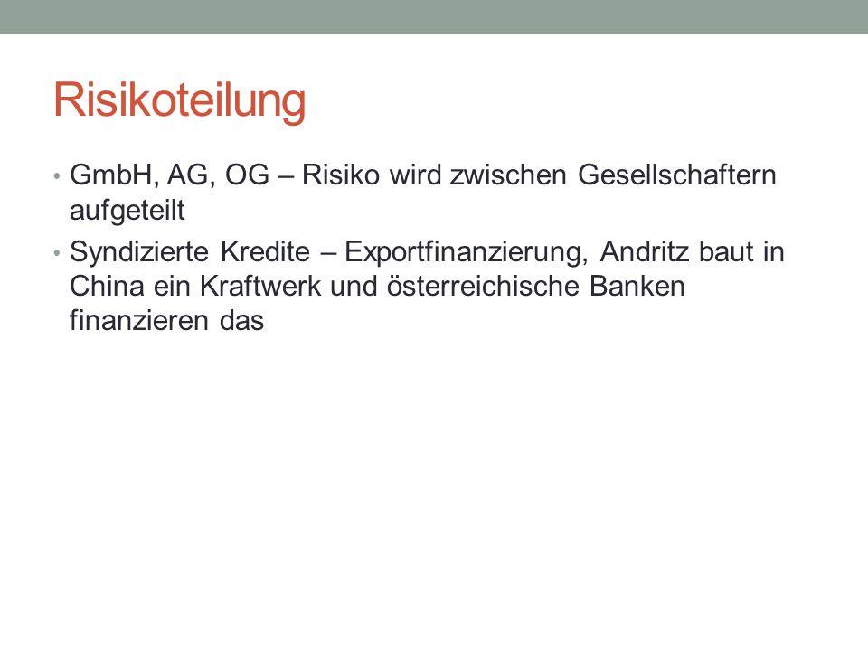 Risikoteilung GmbH, AG, OG – Risiko wird zwischen Gesellschaftern aufgeteilt Syndizierte Kredite – Exportfinanzierung, Andritz baut in China ein Kraft