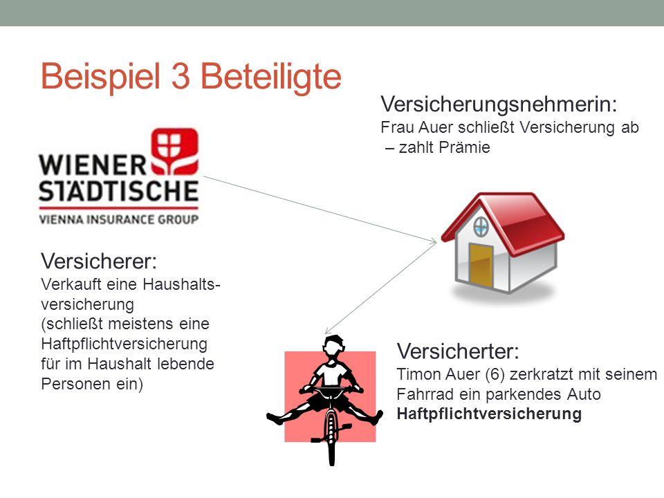 Beispiel 3 Beteiligte Versicherer: Verkauft eine Haushalts- versicherung (schließt meistens eine Haftpflichtversicherung für im Haushalt lebende Perso