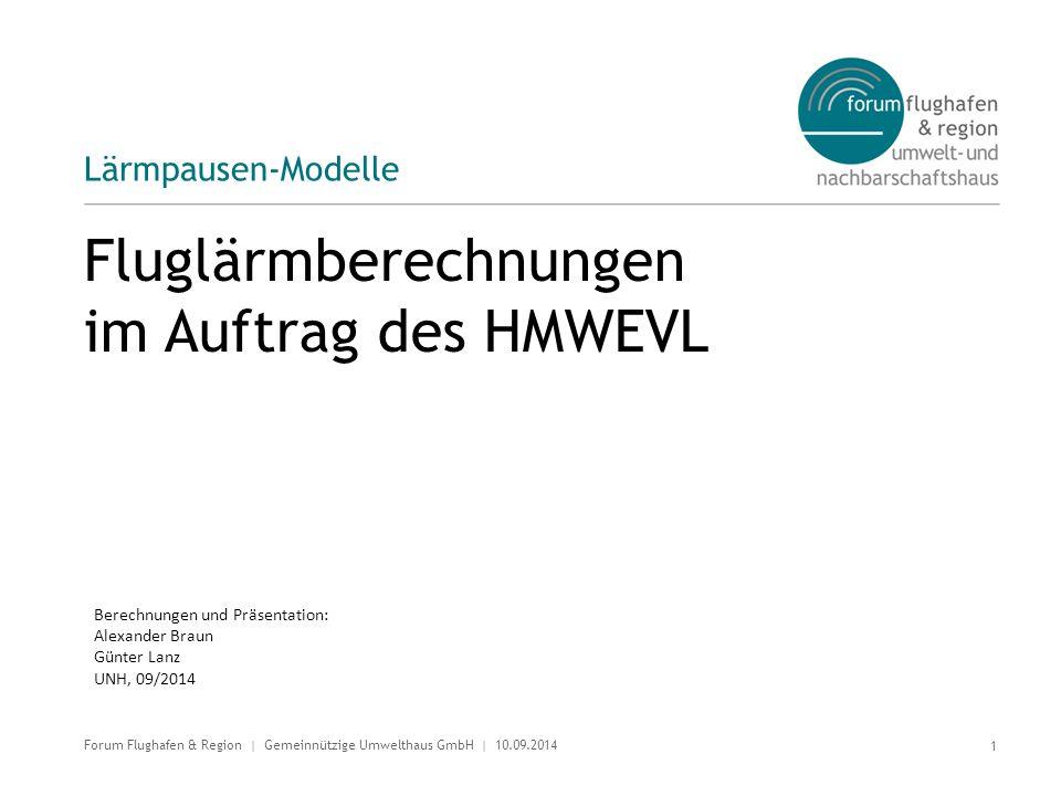 Fluglärmberechnungen im Auftrag des HMWEVL Lärmpausen-Modelle 1 Forum Flughafen & Region | Gemeinnützige Umwelthaus GmbH | 10.09.2014 Berechnungen und