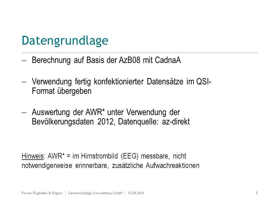 Datengrundlage  Berechnung auf Basis der AzB08 mit CadnaA  Verwendung fertig konfektionierter Datensätze im QSI- Format übergeben  Auswertung der A