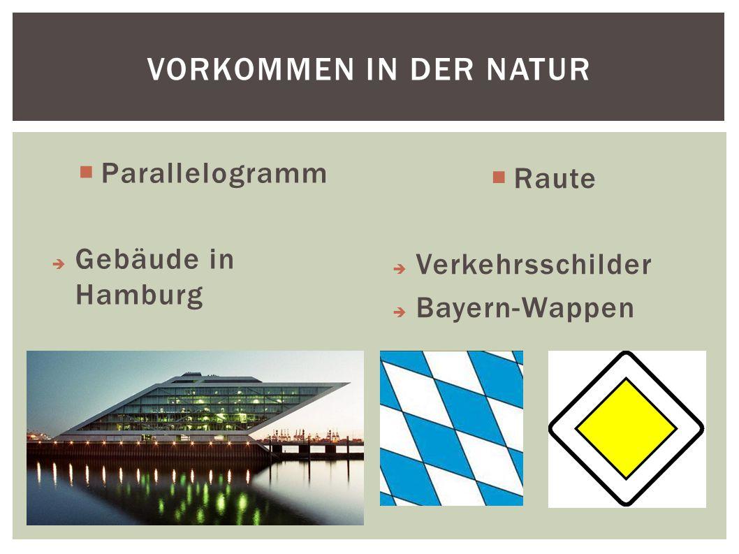  Raute  Verkehrsschilder  Bayern-Wappen  Parallelogramm  Gebäude in Hamburg VORKOMMEN IN DER NATUR