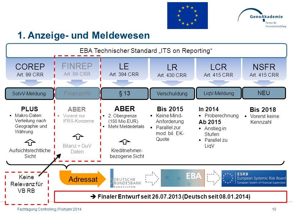 PLUS  Makro-Daten: Verteilung nach Geographie und Währung 1. Anzeige- und Meldewesen  Finaler Entwurf seit 26.07.2013 (Deutsch seit 08.01.2014) CORE