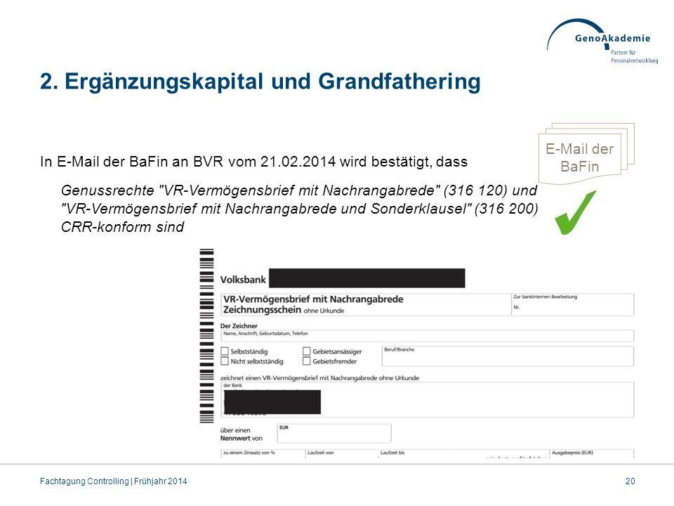 2. Ergänzungskapital und Grandfathering In E-Mail der BaFin an BVR vom 21.02.2014 wird bestätigt, dass Genussrechte