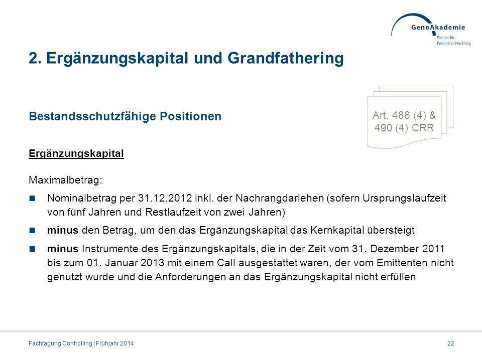 2. Ergänzungskapital und Grandfathering Bestandsschutzfähige Positionen Ergänzungskapital Maximalbetrag: Nominalbetrag per 31.12.2012 inkl. der Nachra