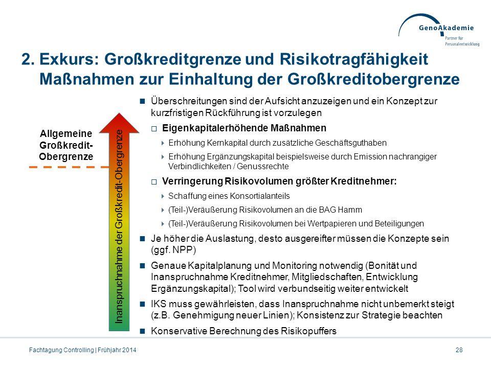 2. Exkurs: Großkreditgrenze und Risikotragfähigkeit Maßnahmen zur Einhaltung der Großkreditobergrenze Fachtagung Controlling | Frühjahr 201428 Übersch