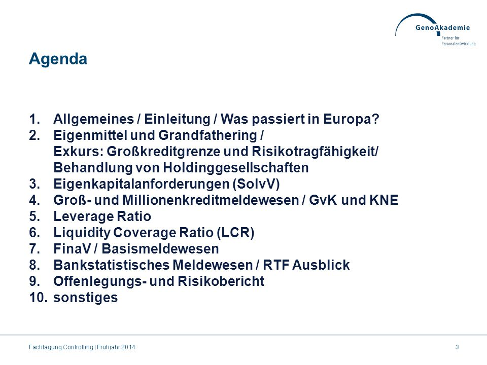 Agenda 3 1.Allgemeines / Einleitung / Was passiert in Europa? 2.Eigenmittel und Grandfathering / Exkurs: Großkreditgrenze und Risikotragfähigkeit/ Beh