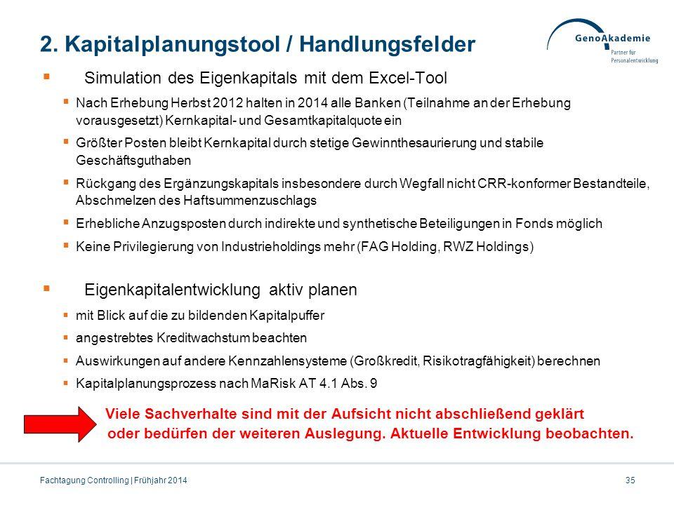 2. Kapitalplanungstool / Handlungsfelder  Simulation des Eigenkapitals mit dem Excel-Tool  Nach Erhebung Herbst 2012 halten in 2014 alle Banken (Tei