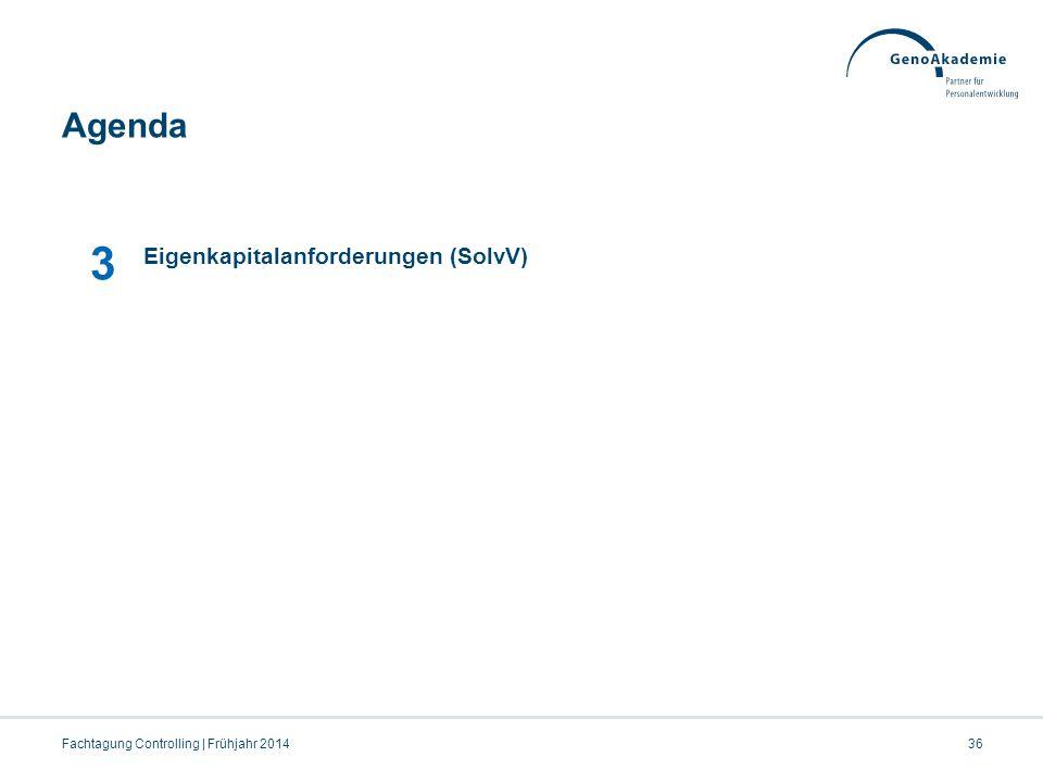 Agenda Fachtagung Controlling | Frühjahr 201436 3 Eigenkapitalanforderungen (SolvV)
