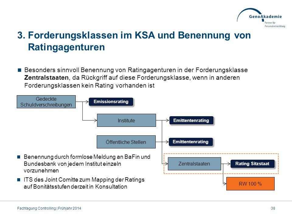 3. Forderungsklassen im KSA und Benennung von Ratingagenturen Besonders sinnvoll Benennung von Ratingagenturen in der Forderungsklasse Zentralstaaten,