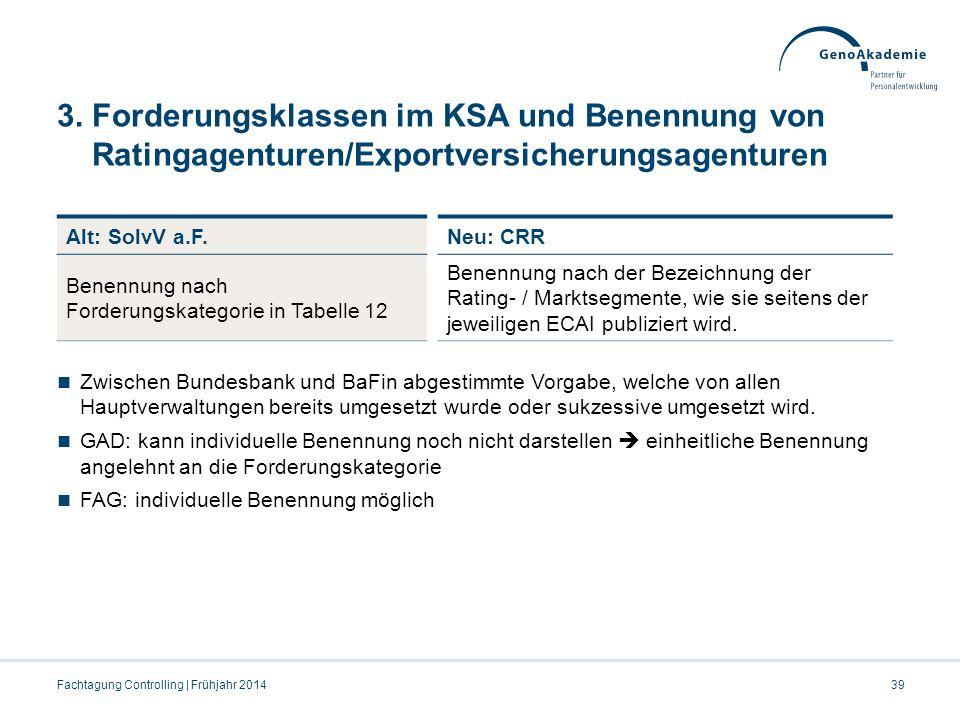 3. Forderungsklassen im KSA und Benennung von Ratingagenturen/Exportversicherungsagenturen Zwischen Bundesbank und BaFin abgestimmte Vorgabe, welche v
