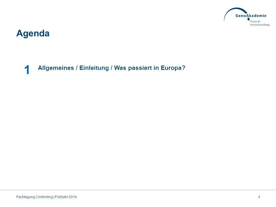 Agenda 4Fachtagung Controlling | Frühjahr 2014 1 Allgemeines / Einleitung / Was passiert in Europa?