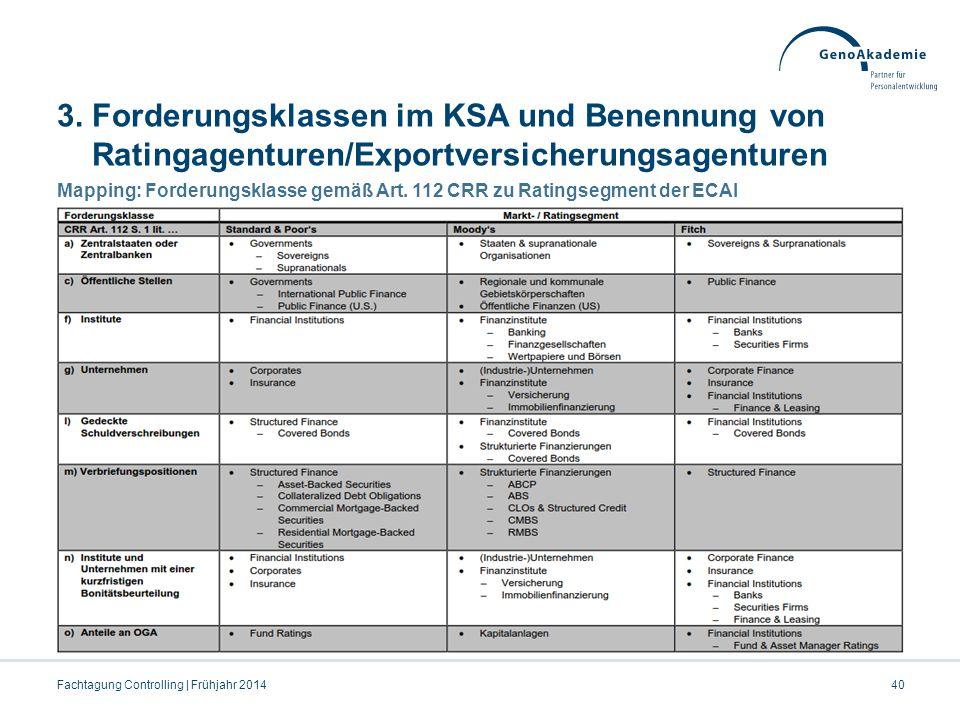3. Forderungsklassen im KSA und Benennung von Ratingagenturen/Exportversicherungsagenturen Mapping: Forderungsklasse gemäß Art. 112 CRR zu Ratingsegme