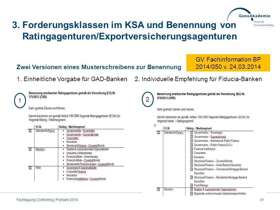 3. Forderungsklassen im KSA und Benennung von Ratingagenturen/Exportversicherungsagenturen Zwei Versionen eines Musterschreibens zur Benennung 1. Einh