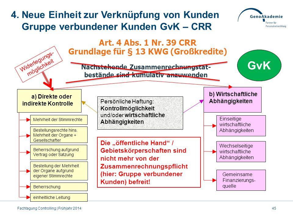 4. Neue Einheit zur Verknüpfung von Kunden Gruppe verbundener Kunden GvK – CRR 45Fachtagung Controlling | Frühjahr 2014 Art. 4 Abs. 1 Nr. 39 CRR Grund