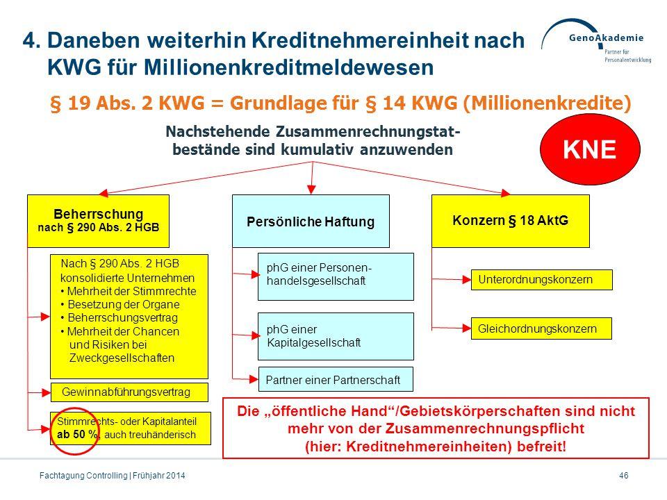 4. Daneben weiterhin Kreditnehmereinheit nach KWG für Millionenkreditmeldewesen 46Fachtagung Controlling | Frühjahr 2014 Beherrschung nach § 290 Abs.